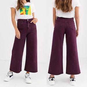 ASOS design premium wide leg jeans - aubergine